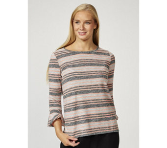 Together Fluted Sleeves Striped Top - 169862