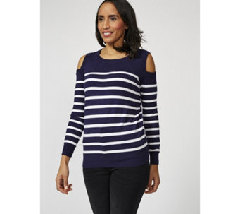 Attitudes by Renee Long Sleeve Cold Shoulder Sweater - 170562