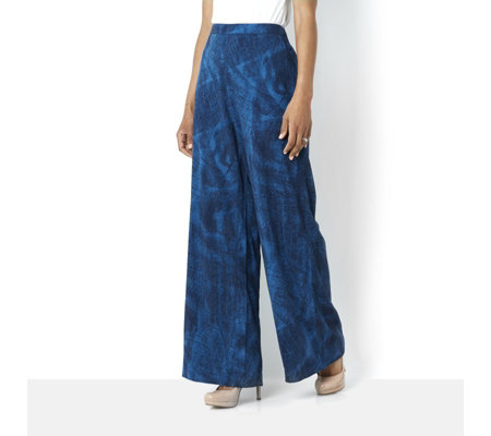 H by Halston Printed Wide Leg Trousers