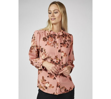 Denim & Co. Floral Printed Tie Neck Blouse