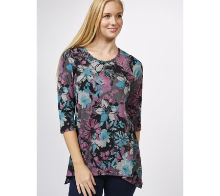 Denim & Co. Printed Scoop Neck 3/4 Sleeve Trapeze Top