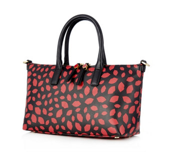 Lulu Guinness Small Frances Lip Print Leather Tote Bag with Detachable Strap - 167864