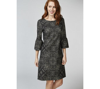 Betty & Co Bell Sleeve Flocked Dress - 168264