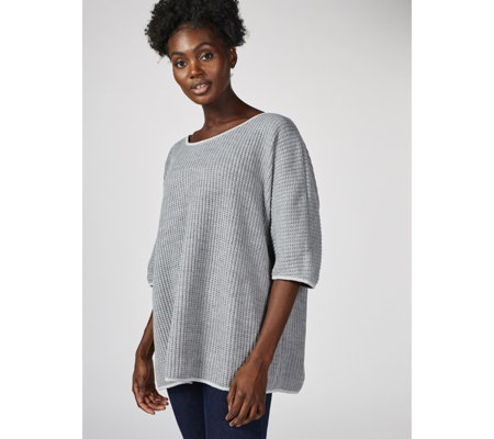 Join Clothes 3/4 Sleeve Waffle Knit Jumper