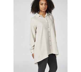 Woven Button Front Shirt with Back Lacing by Susan Graver - 169564