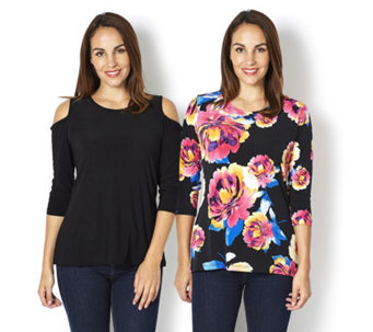 2 Pack of Tops Printed Top & Cold Shoulder Top by Nina Leonard - 163365