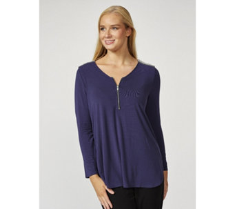 Together Zip Through Embellished Shoulders Top - 169865