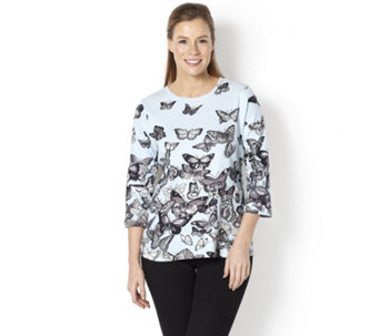 Artscapes Butterfly Festival 3/4 Sleeve Round Neck Top - 157466