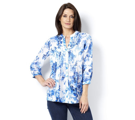 Fashion by Together China Blooms Print Blouse