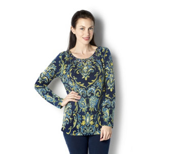 Artisan Printed Liquid Knit Embellished Top by Susan Graver - 162366