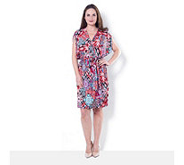 Attitudes By Renee Printed Jesery V Neck Dress - 164466