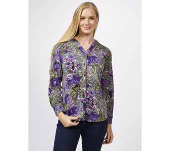 Denim & Co. Printed Heavenly Long Sleeve Y Neck Button Front Jersey Shirt - 165766