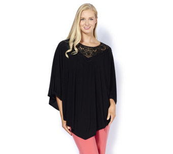 Antthony Designs Poncho Top with Lace Detail & Handkerchief Hem - 166766