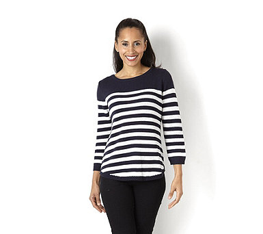 Marble Stripe Jumper with Zip Back Detail - 133967