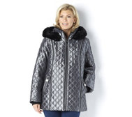 Dennis Basso Quilted Zip Front Hooded Jacket with Faux Fur Trim