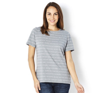 Denim & Co. Printed Round Neck Short Sleeve Top - 163067