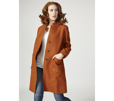 Centigrade Double Faced Collar Revere Long Line Coat