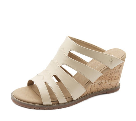 Emu Zoe Leather Peep Toe Wedge Sandal