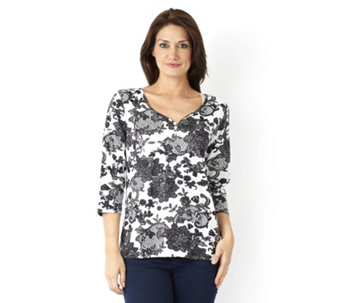Artscapes Bruges Lace 3/4 Sleeve Y Button Front Neck Top - 153369