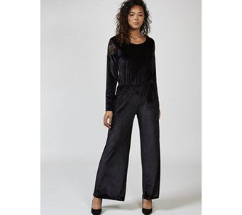 Christopher Fink Lace Shoulder Velvet Wide Leg Jumpsuit - 169669