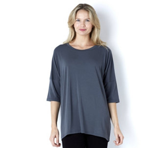 Join Clothes Jersey Scoop Neck Top with Grown On Sleeve - 157070