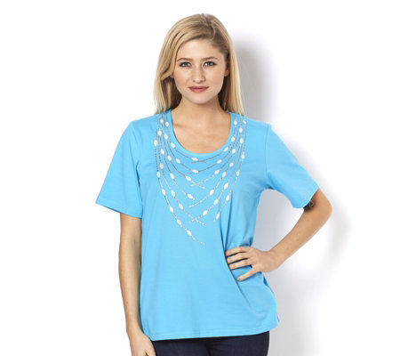 Bob Mackie Short Sleeve Top with Stud Detail
