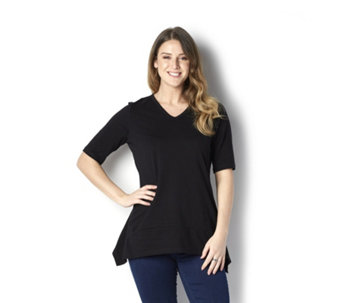 Denim & Co. Elbow Sleeve V-Neck Trapeze Top with Seam Detail - 163070