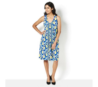 Ronni Nicole Sleeveless Printed V Neck Swing Dress with Racer Back - 165270