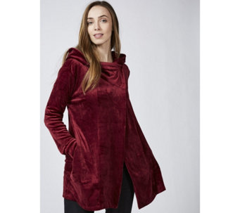 Cuddl Duds Double Plush Velour Cowl Hooded Cardigan Wrap - 166270