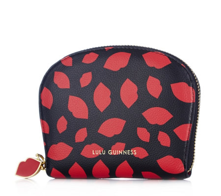 Lulu Guinness Cresent Leather Lip Print Purse
