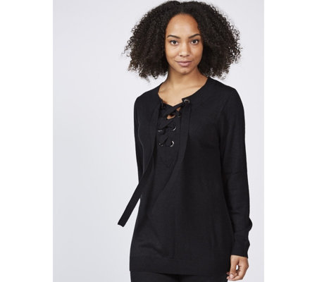 Attitudes by Renee Long Sleeve Jumper with Lace Up Detail