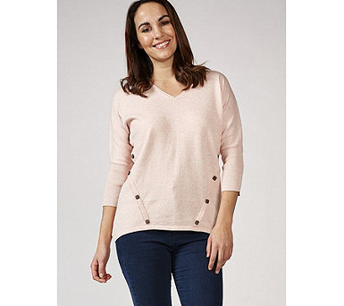 Marble 100% Cotton V Neck Sweater with 3/4 Batwing Sleeve & Button Detail - 169470
