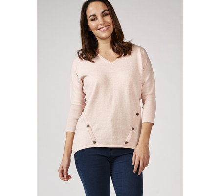 Marble 100% Cotton V Neck Sweater with 3/4 Batwing Sleeve & Button Detail