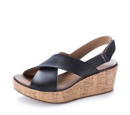 Clarks Stasha Hale Leather Wedge Shoe with Loop Fastening