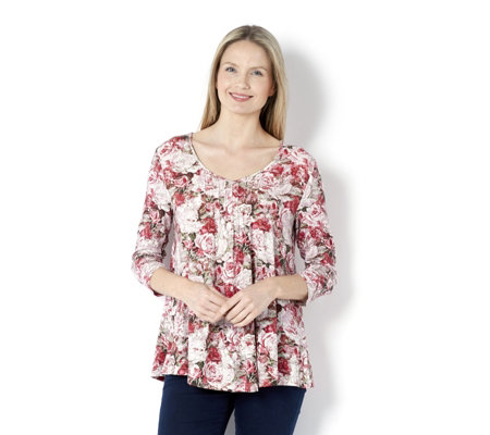 Fashion by Together Rose Bouquet Print Top