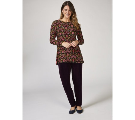 Kim & Co Filigree Floral Brushed Venechia Long Sleeves Hem Tunic