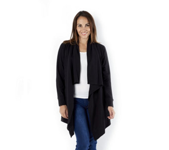 Denim & Co. French Terry Cascade Cardigan with Pockets - 162171