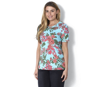 Denim & Co. Short Sleeve Printed Top with Lace Neckline - 163071