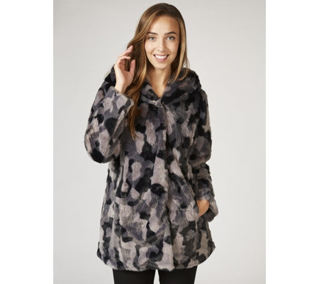 Isaac Mizrahi Live Soho Faux Fur Coat with Hood