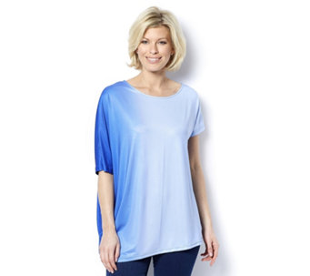 Ombre Batwing Asymmetric Tunic by Nina Leonard - 163372