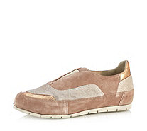 Manas Suede Slip On Shoe with Metallic Detail - 166972