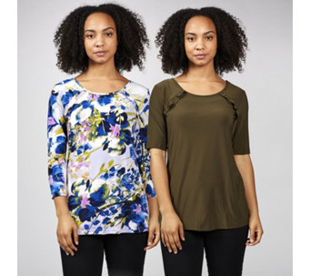 Pack of 2 Plain & Printed Ruffle Front Tops by Nina Leonard - 170572