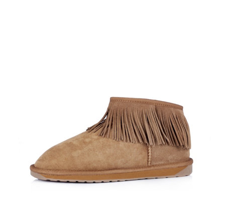 Emu Water Resistant Sheepskin Micro Boots with Fringe Detail