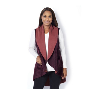 Logo by Lori Goldstein Double Faced Sleeveless Fleece Cardigan - 160473