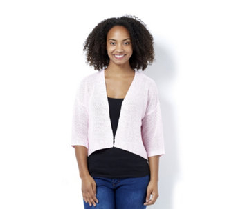 Marble Edge to Edge Cardigan with Back Knit Detail - 162973