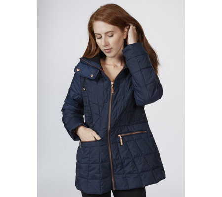 Centigrade Chevron Detail Lightweight Polyfill Quilted Jacket