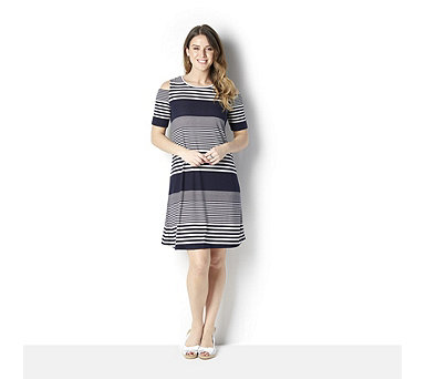 Ronni Nicole Textured Stripe Knit Swing Dress w/ Cold Shoulder - 163574