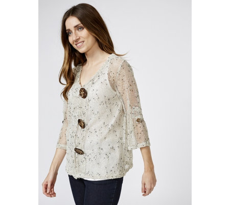 3/4 Sleeve Boxy Cardigan with Coconut Button Detail by Nina Leonard