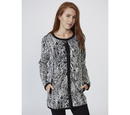 Dennis Basso Knit Animal Jacquard Jacket