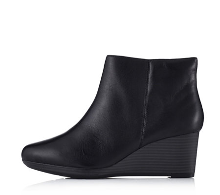 Clarks Crystal Basil Bendables Wedge Heel Leather Ankle Boot ...